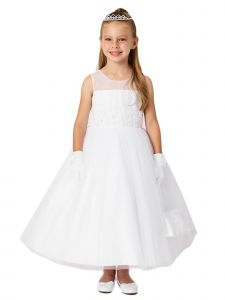 Little Girls White Illusion Neck Lace Pearls Flower Girl Dress 6