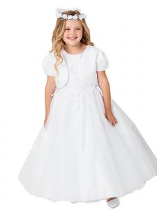 Big Girls White Lace Applique Satin Tulle Bolero Plus Size Communion Dress 6-20X