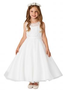Big Girls Ivory Lace Illusion Neck 3D Flowers Organza Communion Dress 12