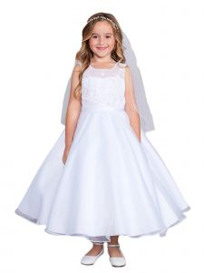 Girls Multi Color Lace Illusion Neck 3D Flowers Organza Communion Dress 2-14