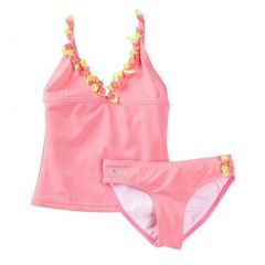 Azul Little Girls Pink Rosette Bibbidi Bobbidi Boo 2 Pc Tankini Swimsuit 2-6