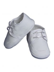 Baby Boys White Gabardine Oxford Braid Accent Christening Shoes 0-4 Baby