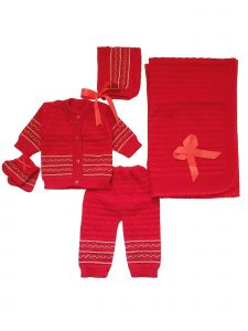 Abelito Unisex Baby Multi 5 Pcs Crochet Layette Coming Home Outfit Set 0-3M