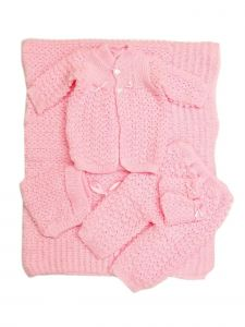 Baby Multi Color 5 PC Crochet Blanket Layette Coming Home Outfit Set 0-3M
