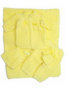 Unisex Baby Yellow 5 PC Crochet Blanket Layette Coming Home Outfit Set 0-3M