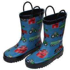 Foxfire Little Boys Blue Farm Equipment Rubber Rain Boots 5-10 Toddler
