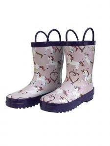 Foxfire Little Girls Pink Rainbow Unicorn Side Handle Rain Boots 5-10 Toddler
