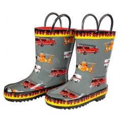 Foxfire Boys Grey Fire Trucks Printed Rubber Boots 5-10 Toddler