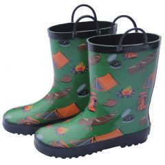 Foxfire Boys Green Camping Print Pull On Handle Rubber Rain Boots 11-3 Kids