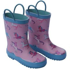 Foxfire Little Girls Pink Unicorn Print Pull On Handle Rain Boots 5-10 Toddler