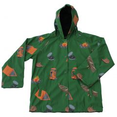 Foxfire Big Boys Green Grey Camping Print Hooded Lined Raincoat 8-10