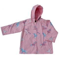 Foxfire Big Girls Pink Blue Unicorn Print Hooded Lined Raincoat 8-10