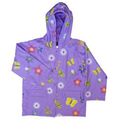 Foxfire Big Girls Purple Floral Butterfly Print Hooded Raincoat 8-10