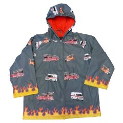 Foxfire Little Boys Grey Fire Truck Print Hooded Raincoat 2T-6