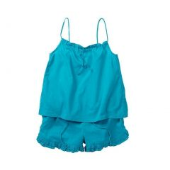 Azul Little Girls Turquoise Drawstring Cotton Top 2 Pc Shorts Outfit 2T-7