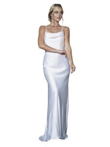 Amelia Couture Womens White Lace-Up Fitted Satin Dress 16