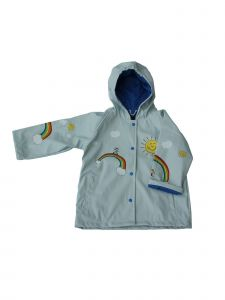 Foxfire Girls Light Blue Multi Color Rainbow Print Hooded Rain Coat 1T-6