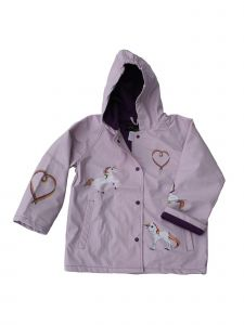 Foxfire Big Girls Lilac Rainbow Heart Unicorn Print Hooded Rain Coat 8-10
