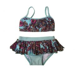 Little Girls Blue Boho Paisley Tie Ruffle Bandot Bikini 2 Pc Swimsuit 6