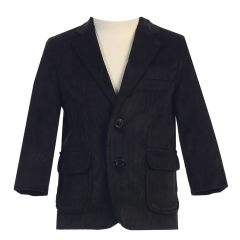 Lito Little Boys Black Two Button Corduroy Easter Blazer 18M-7
