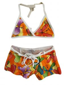 Big Girls Multi Color Butterfly Print Triangle Short 2 Pc Swimsuit 10