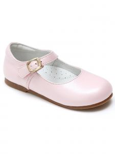 Lamour Girls Pearlized Pink Gold Buckle Mary Jane Shoes 11-2 Kids