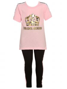 Girls Pink Baby Girls Light Pink Crown Print Tee 2 Pc Legging Outfit 12-24M