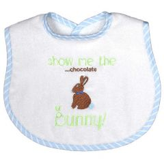 "Raindrops Baby Boys Blue ""Show Me the Chocolate Bunny"" Embroidered Bib"