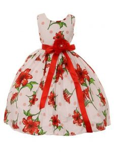 Girls Multi Colors Floral Print Satin Sash Tea-Length Flower Girl Dress 2-12