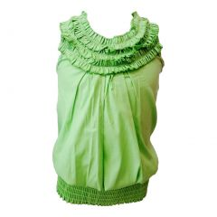 Little Girls Green Ruffled Neckline Elastic Waist Sleeveless Blouse Top 4-6