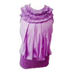 Little Girls Lilac Ruffled Neckline Elastic Waist Sleeveless Blouse Top 4-6