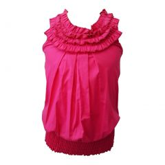 Little Girls Fuchsia Ruffled Neckline Elastic Waist Sleeveless Blouse Top 4-6