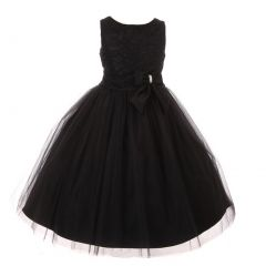 Big Girls Black Dull Satin Lace Tulle Overlaid Junior Bridesmaid Dress 10