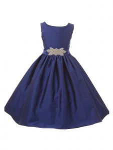 Big Girls Royal Blue Victorian Silky Satin Brooch Accent Christmas Dress 8-12