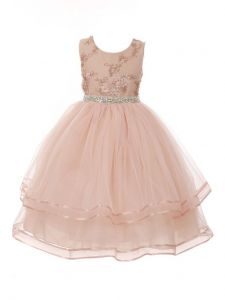 Little Girls Blush Floral Embroidered Organza Tulle Flower Girl Dress 2-6