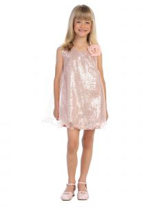 Girls Multi Colors Sequin Adorned Wire Hem Overlay Flower Girl Dress 2-12