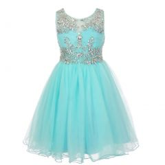 Big Girls Aqua Tulle AB Stone Wired Flower Girl Dress 8-16