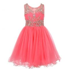 Big Girls Coral Tulle AB Stone Wired Flower Girl Dress 8-16