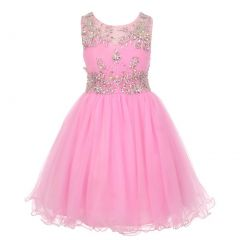 Big Girls Pink Tulle AB Stone Wired Flower Girl Dress 8-16
