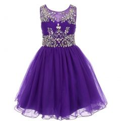 Big Girls Purple Tulle AB Stone Wired Flower Girl Dress 8-16