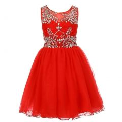 Big Girls Red Tulle AB Stone Wired Flower Girl Dress 8-16
