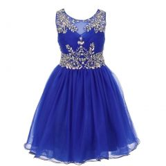 Big Girls Royal Blue Tulle AB Stone Wired Flower Girl Dress 8-16