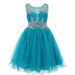 Big Girls Teal Tulle AB Stone Wired Flower Girl Dress 8-16