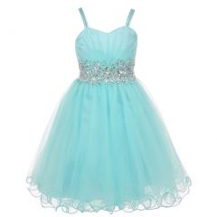 Little Girls Aqua Blue Stone Encrusted Pleated Tulle Party Dress 2-6