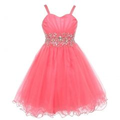 Little Girls Coral Stone Encrusted Pleated Tulle Party Dress 2-6