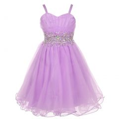 Little Girls Lilac Stone Encrusted Pleated Tulle Party Dress 2-6
