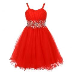 Big Girls Red Stone Encrusted Pleated Tulle Junior Bridesmaid Dress 8-16
