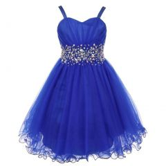 Little Girls Royal Blue Stone Encrusted Pleated Tulle Party Dress 2-6
