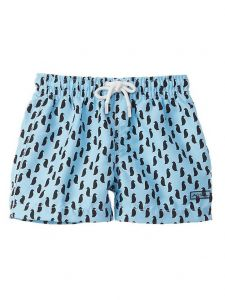 Azul Baby Boys Blue Black Penguin Print Drawstring Tie Swimwear Shorts 6-24M
