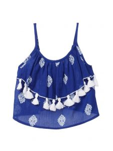 Azul Little Girls Blue Stamp Hand Made Tassels Strap Ruffle Top 2T-7